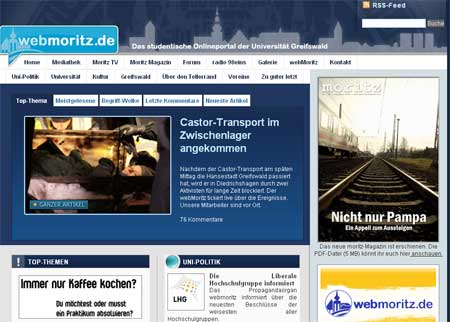 webMoritz.de screenshot 2009